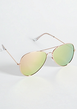 Rose Gold Flat Mirrored Lens Aviator Sunglasses