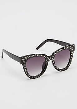 Black Rhinestone Round Studded Sunglasses