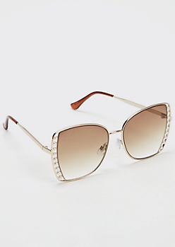 Gold Pearl Lined Lense Sunglasses