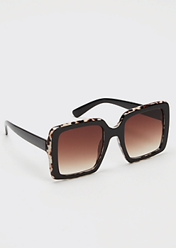 Black Oversized Matte Square Sunglasses