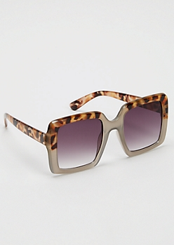 Leopard Print Oversized Matte Square Sunglasses