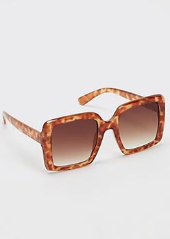 Tortoise Print Oversized Matte Square Sunglasses