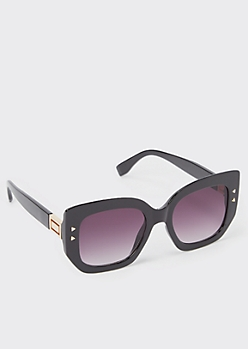 Black Geometric Detail Square Sunglasses
