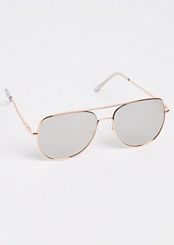 Silver Mirrored Lens Aviator Sunglasses