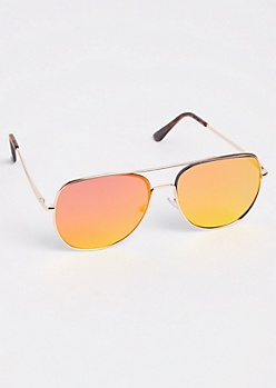 Red Mirrored Lens Aviator Sunglasses