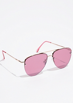 Fuchsia Frameless Lens Aviator Sunglasses