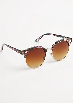 Floral Patterned Retro Round Sunglasses