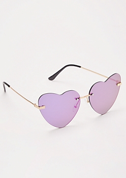 Purple Mirror Heart Eye Sunglasses