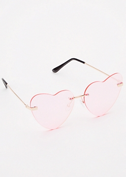 Pink Rimless Heart Eye Sunglasses