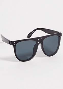 Black Studded Visor Sunglasses
