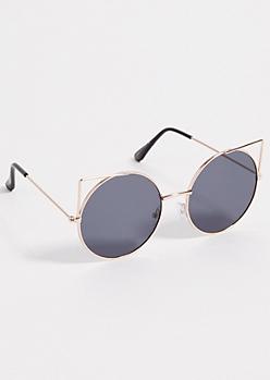 Black Round Cat Eye Mirrored Lens Sunglasses