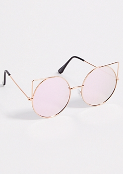 Rose Gold Round Cat Eye Mirrored Lens Sunglasses
