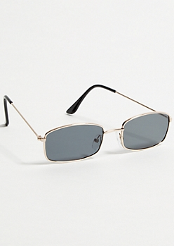 Black Rectangular Frame Small Sunglasses