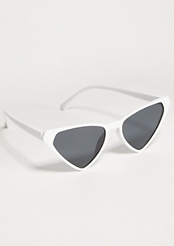 White Skinny Cat Eye Sunglasses