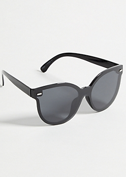 Black Shield Cat Eye Sunglasses