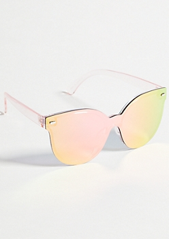 Rose Gold Shield Cat Eye Sunglasses