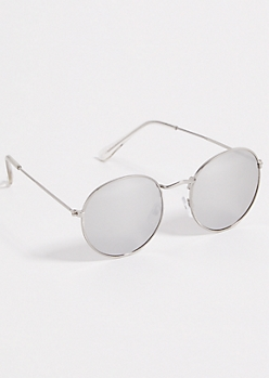 Silver Hammered Mirrored Lens Round Sunglasses