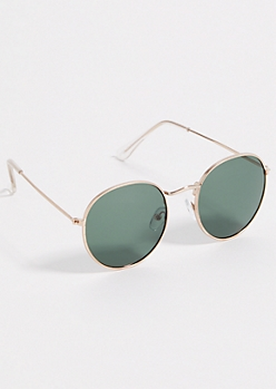 Green Hammered Round Sunglasses
