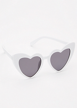 White Heart Eye Sunglasses