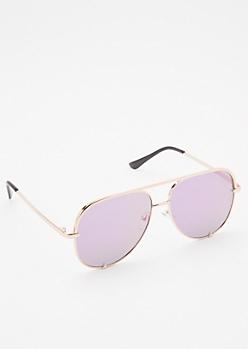 Purple Reflective Aviator Sunglasses