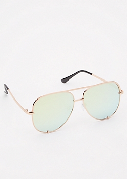 Yellow Reflective Aviator Sunglasses