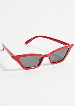 Red Geometric Cat Eye Sunglasses