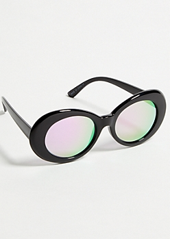 Black Oval Mirrored Magenta Sunglasses