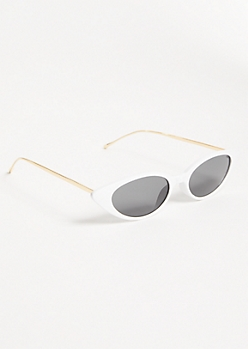 White Skinny Cat Eye Sunglasses