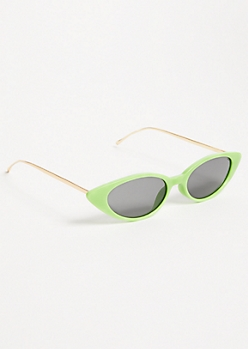 Neon Green Skinny Cat Eye Sunglasses