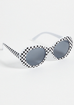 Checkered Print Oval Sunglasses