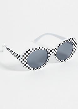 Checkered Print Oval Retro Sunglasses