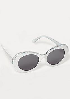 Iridescent Holo Print Oval Sunglasses