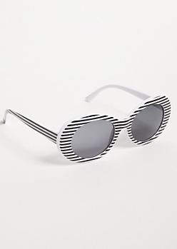 White Striped Oval Retro Sunglasses