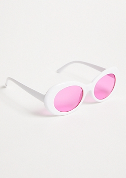 White Pink Lens Oval Sunglasses