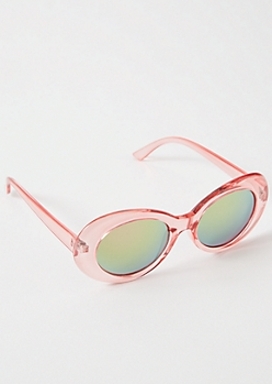Clear Pink Mirrored Oval Retro Sunglasses