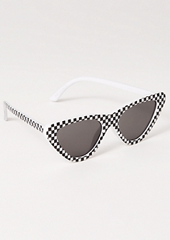 Checkered Print Cat Eye Sunglasses