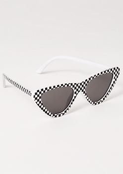Checkered Print Cat Eye Sunglasses
