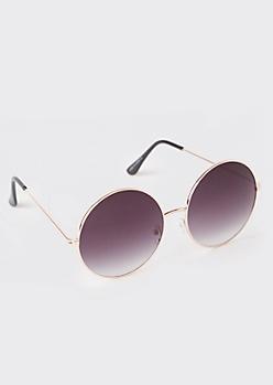Black Gradient Round Sunglasses