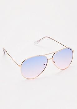 Gold Rhinestone Aviator Sunglasses