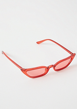 Clear Red Skinny Cat Eye Sunglasses