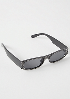 Black Skinny Gemstone Sunglasses