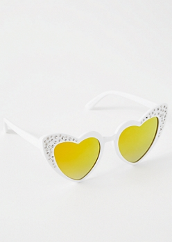White Heart Eye Mirrored Cat Eye Sunglasses