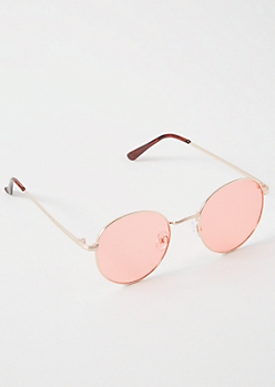 Gold Rosy Lense Round Sunglasses