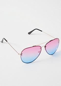 Pink Ombre Rimless Aviator Sunglasses