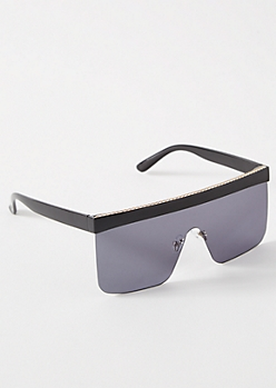 Black Gold Chain Browline Sunglasses
