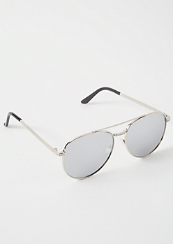 Silver Gemstone Aviator Sunglasses