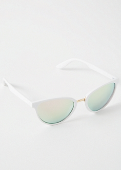 White Mirrored Oversized Cat Eye Sunglasses