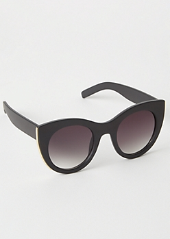 Black Gold Lined Oversized Cat Eye Sunglasses