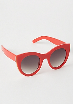 Red Gold Lined Oversized Cat Eye Sunglasses