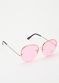 Pink Heart Round Sunglasses